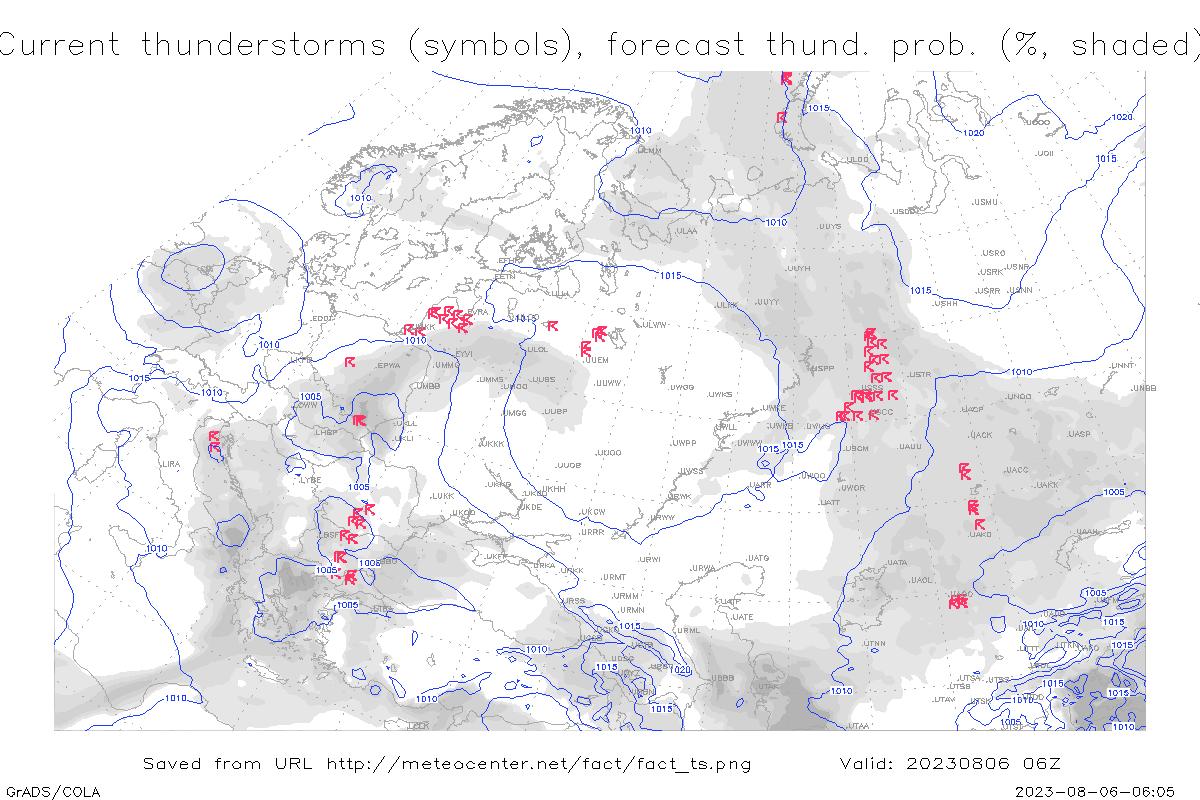 Карта грозовых очагов